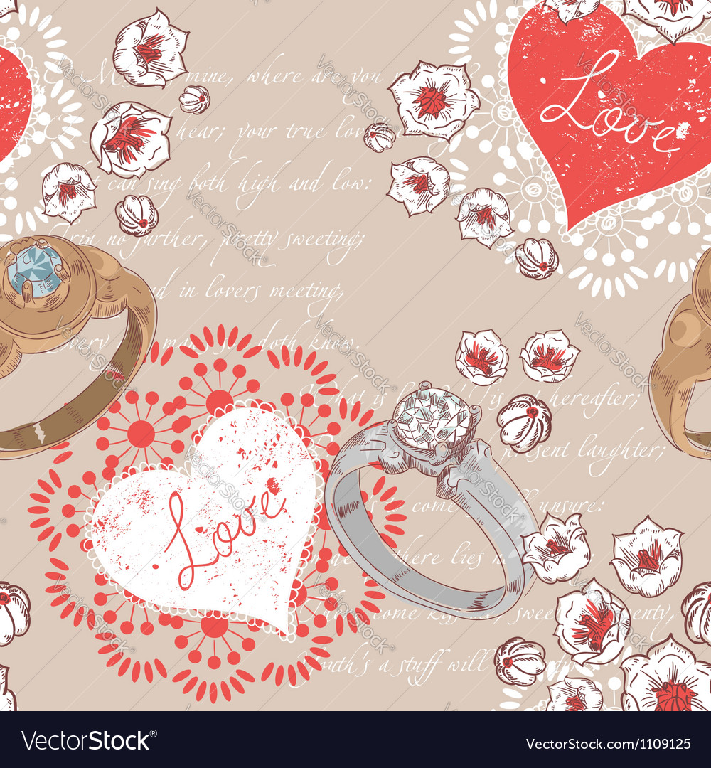 Valentine retro seamless pattern with wedding ring