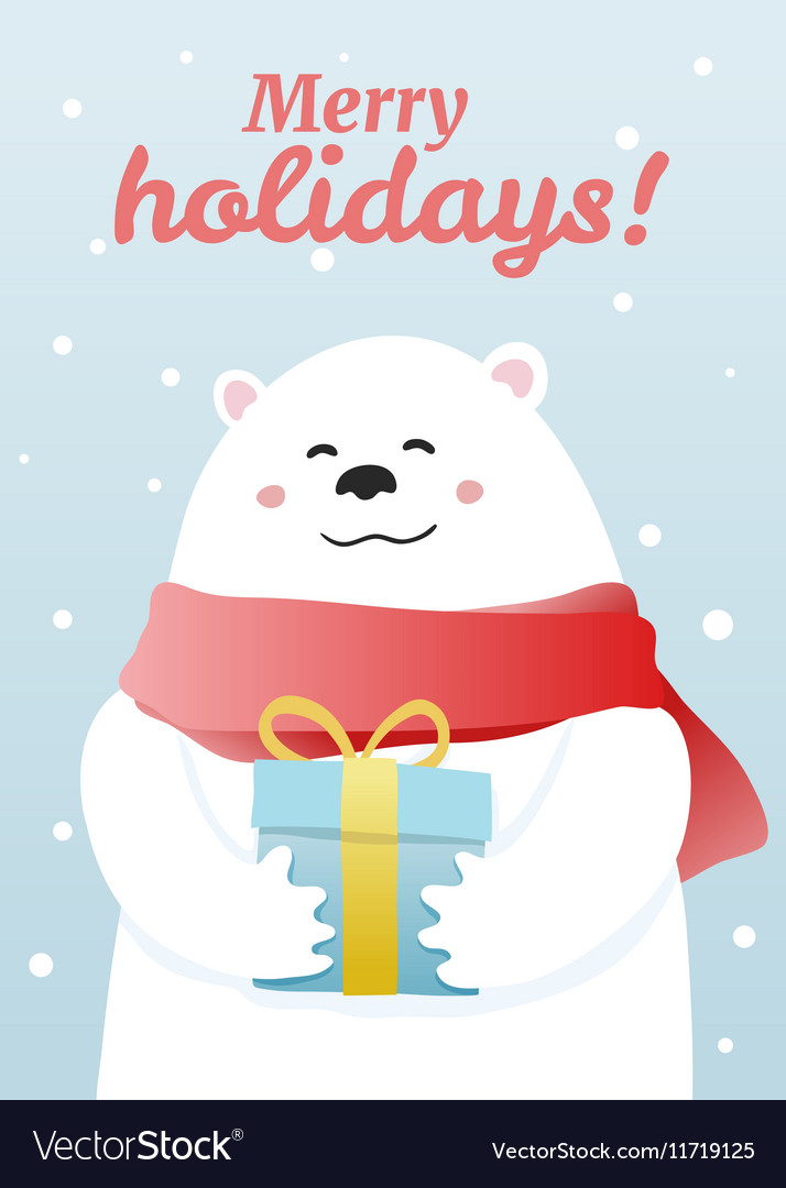 Winter postcard with white bear