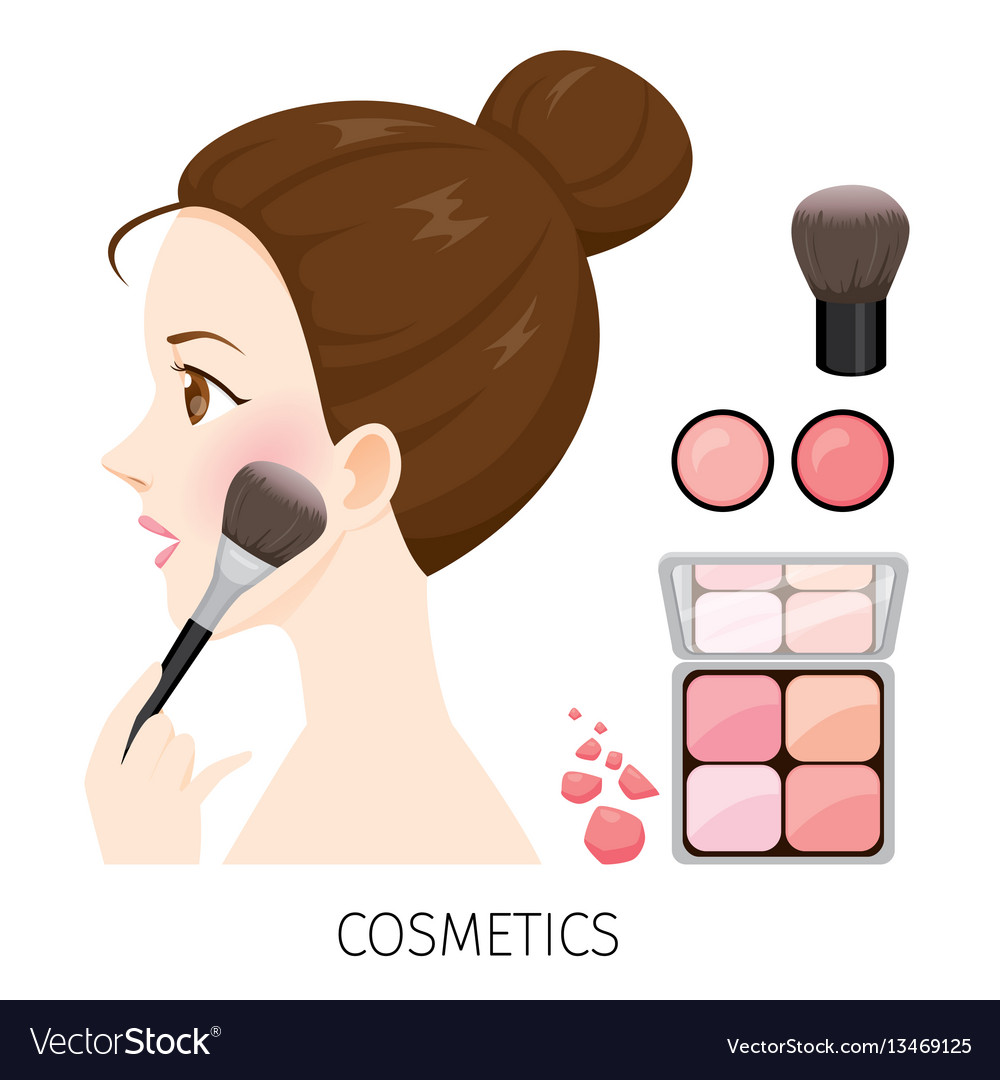 Woman with hair bun make-up rouge and brush vector image