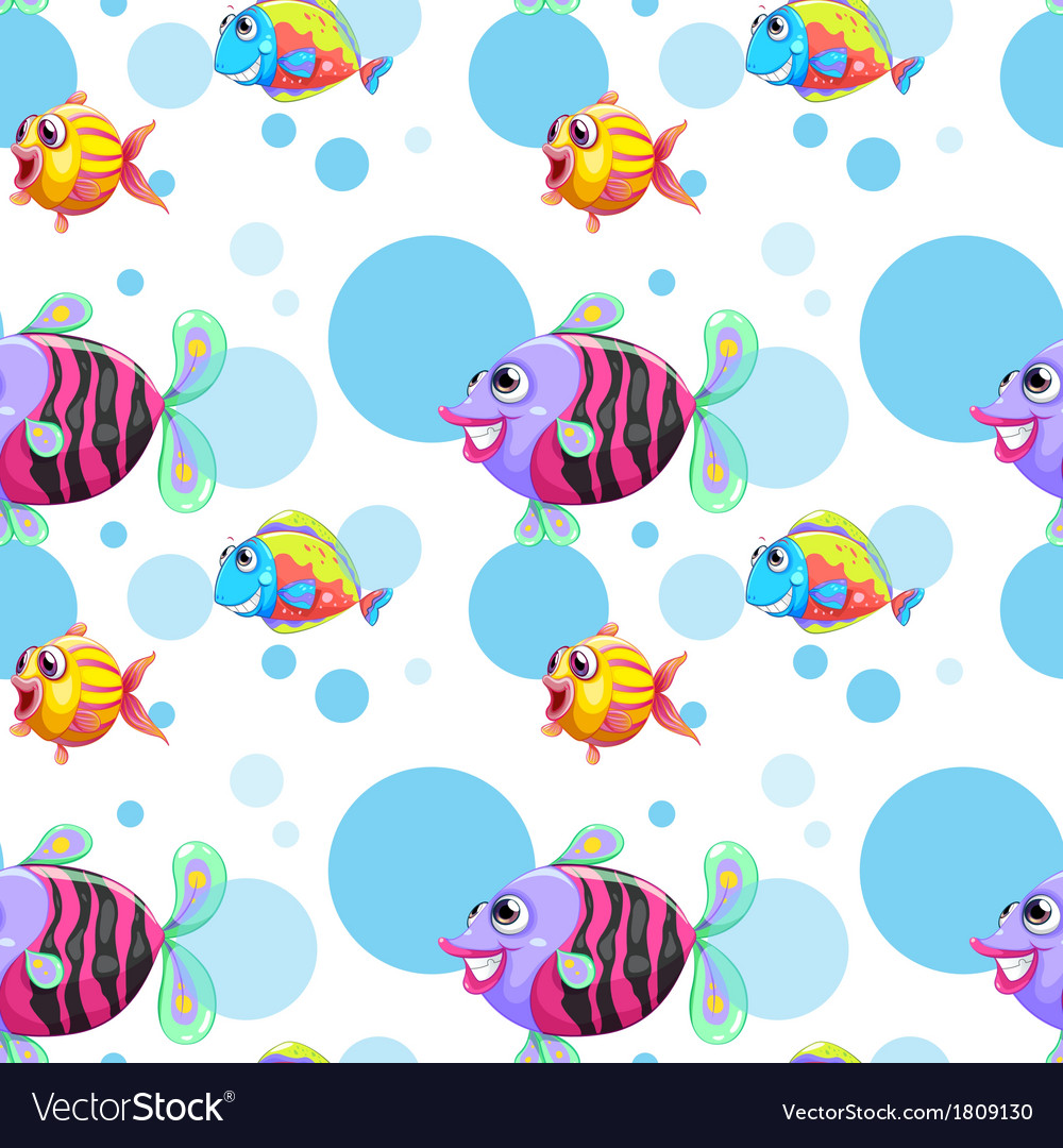 A seamless design with a school of colorful fishes