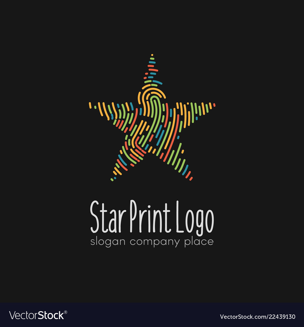 Abstract colorful linear star logo on dark