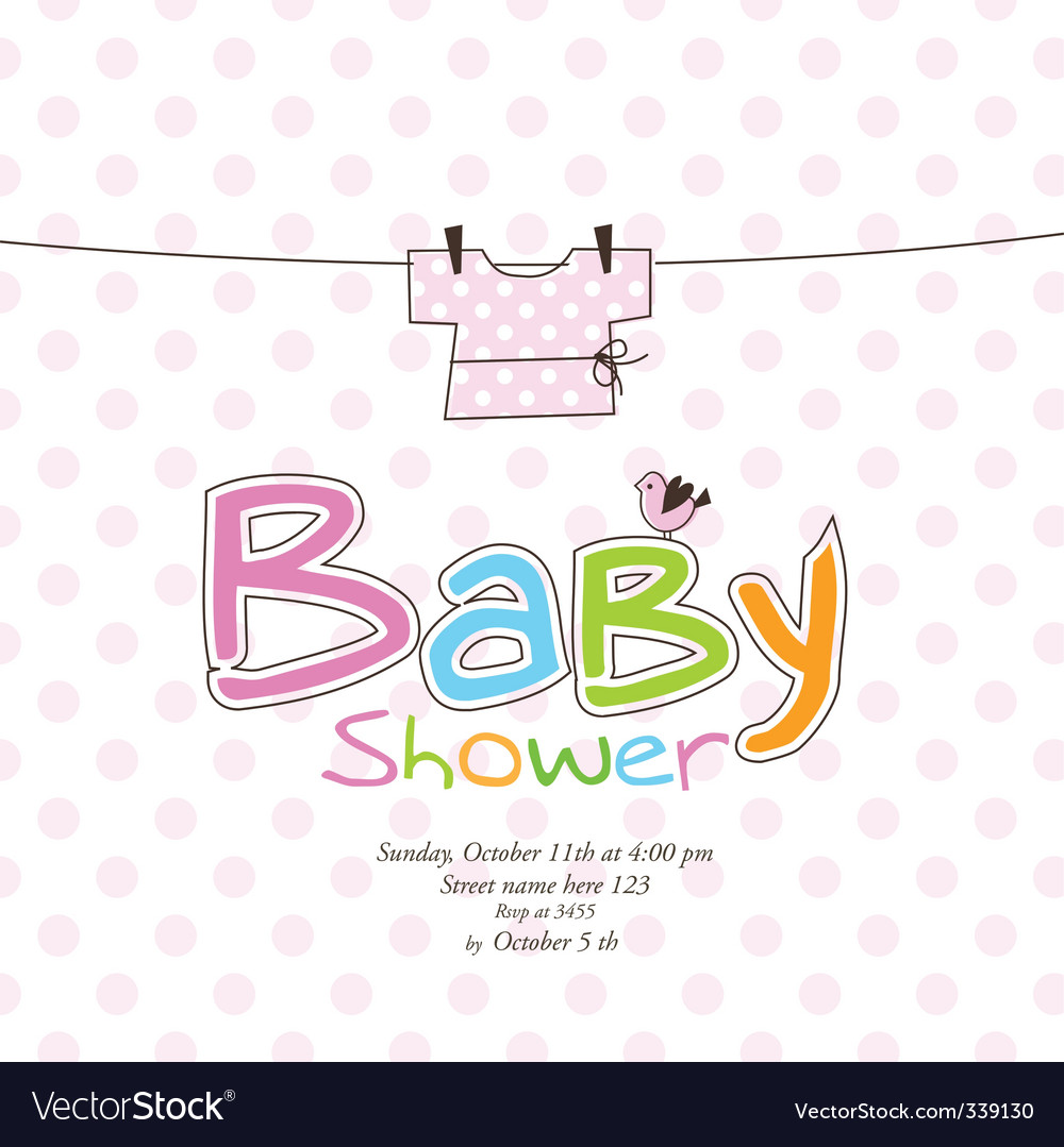 Baby girl announcement card vector image
