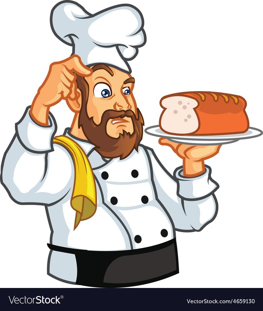 рисунок пекарь с хлебом город