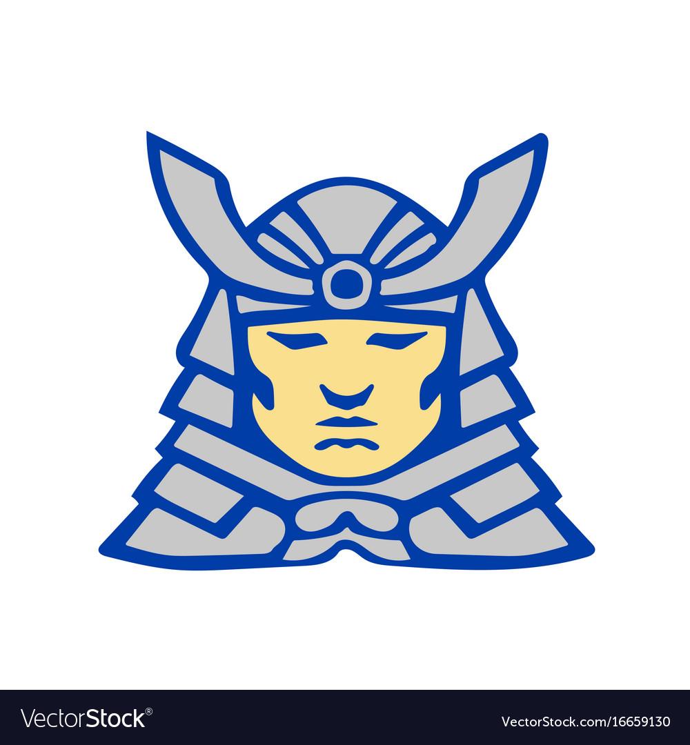 Bushido samurai head armor helmet retro vector image