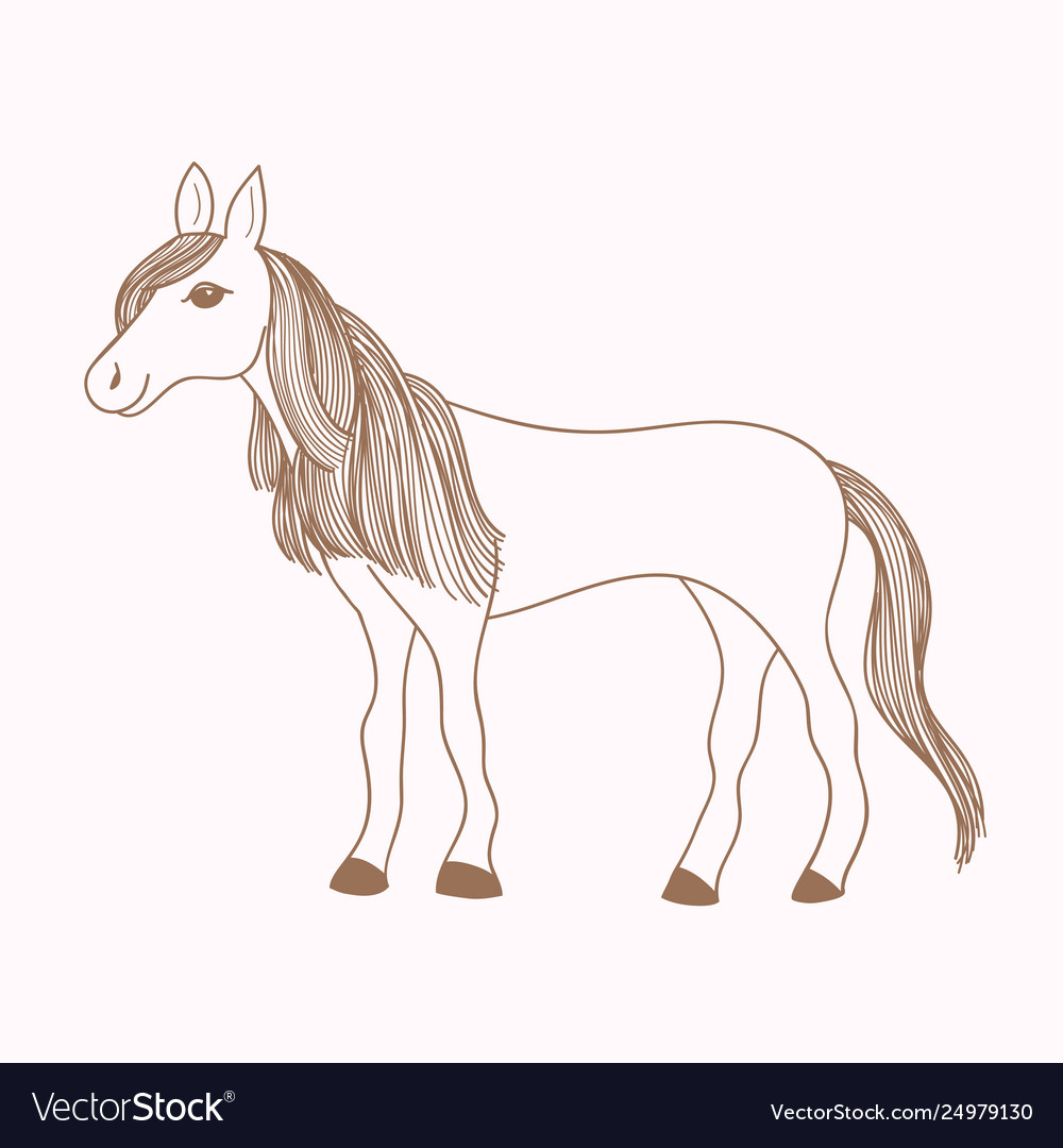 Cute Hand Drawn Horse Drawing Mare Royalty Free Vector Image