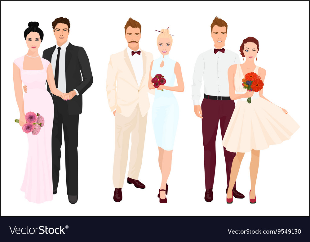 Elegant wedding couples bride and groom set