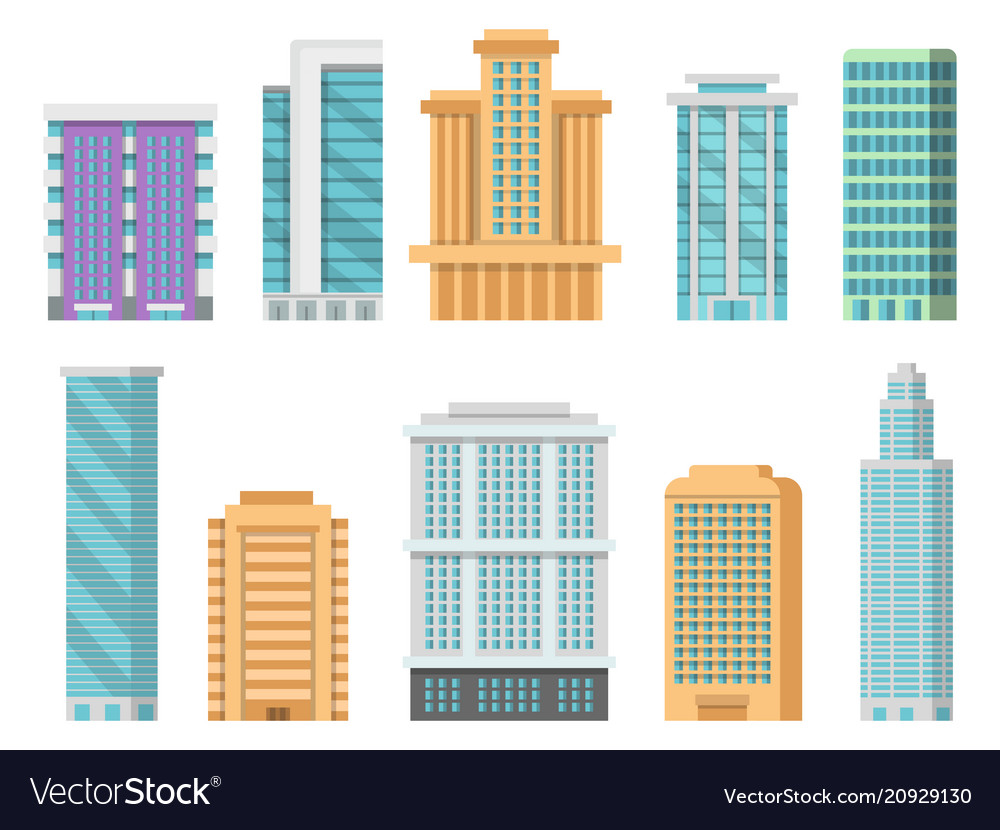 Flat of various modern skyscrapers
