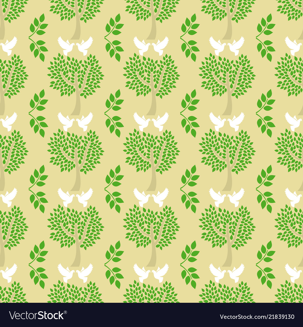 Green trees and flying doves seamless pattern