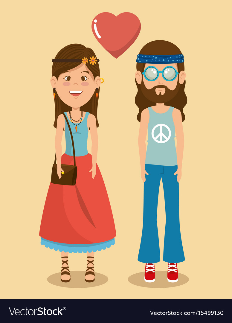 Hippie people cartoon
