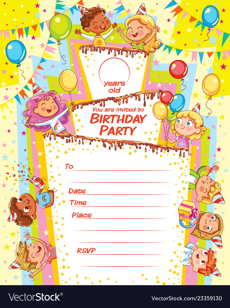 Invitation card for birthday party Royalty Free Vector Image