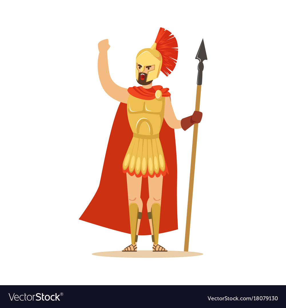 Spartan warrior character in armor and red cape
