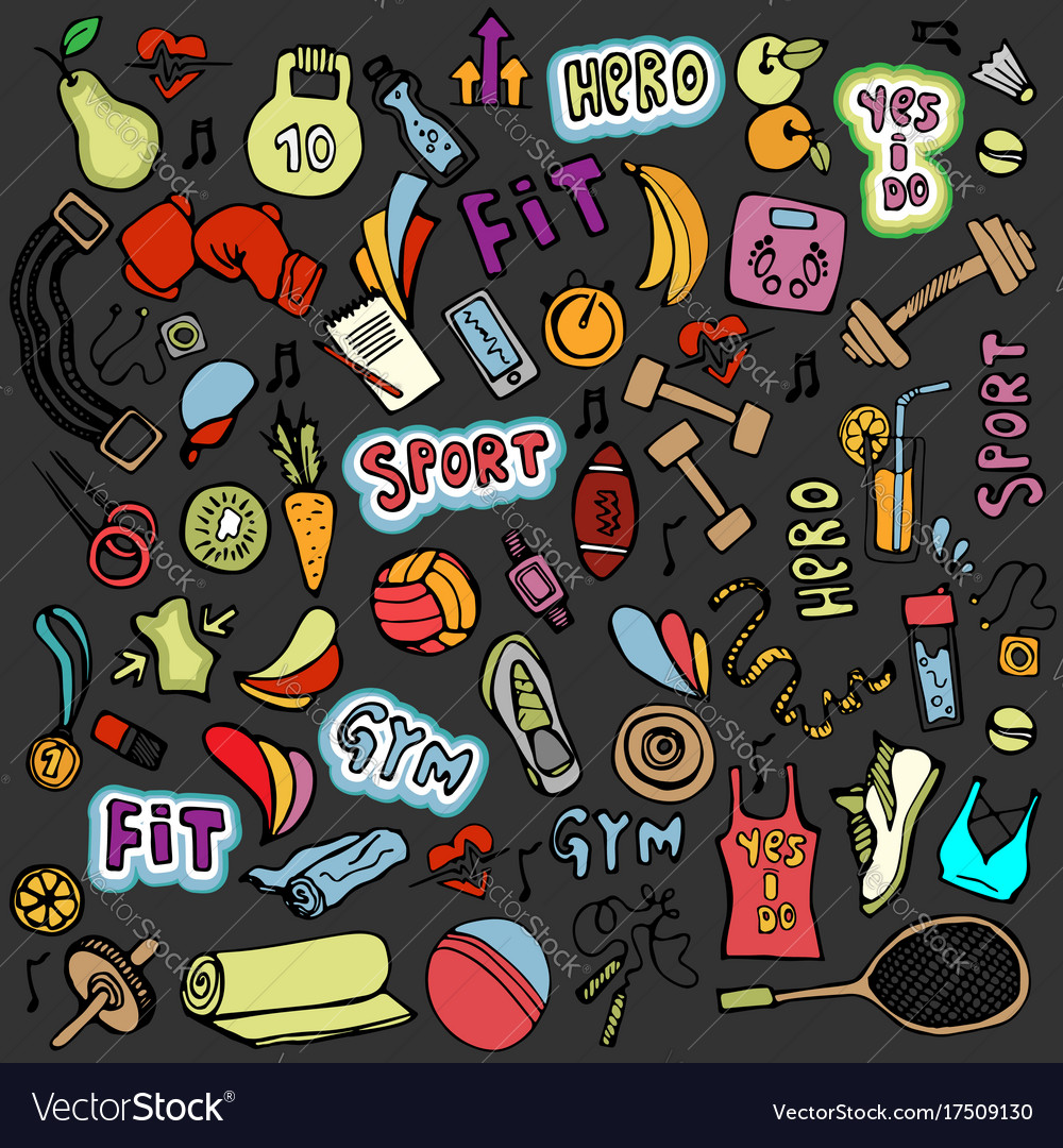Sports hand draw icon and elements fitness and