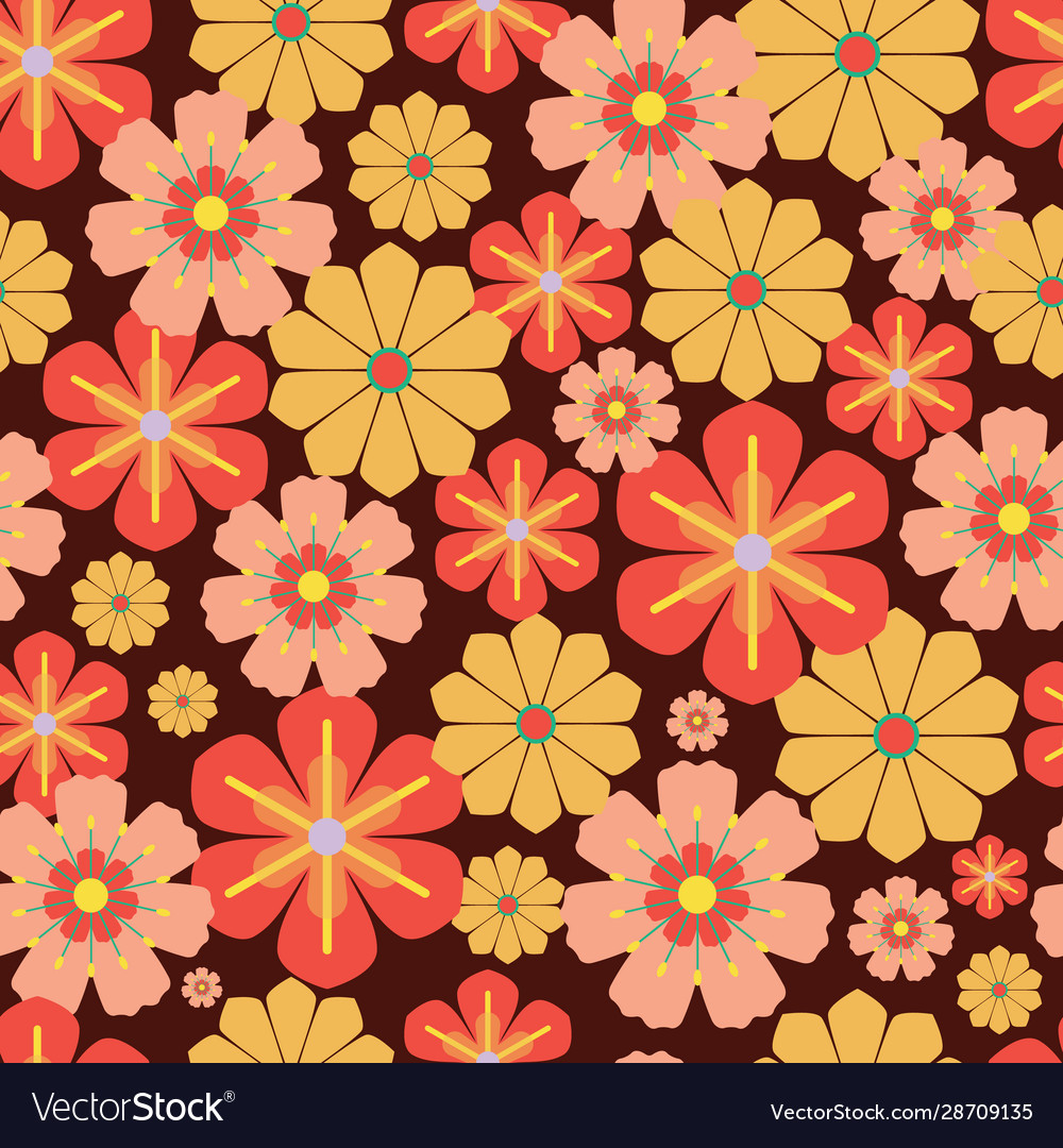 60s 70s Retro Vintage Flowers Seamless Royalty Free Vector