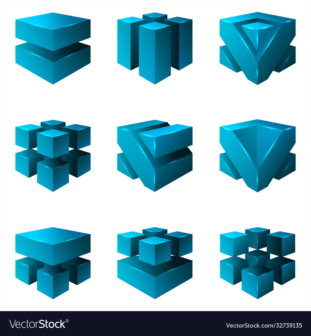 Abstract isometric cubes geometric isolated set