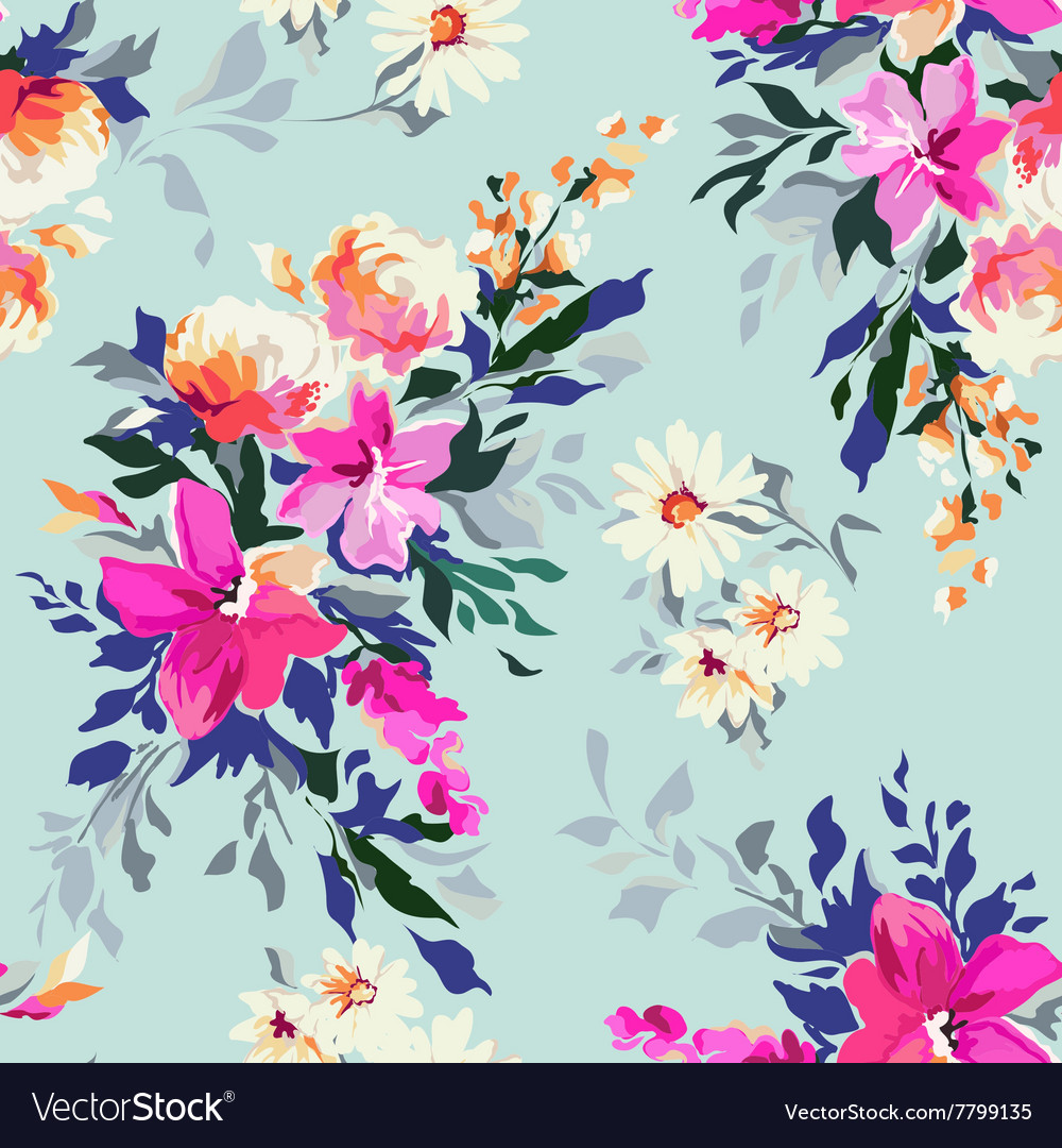 Bright Classic Floral Print Royalty Free Vector Image