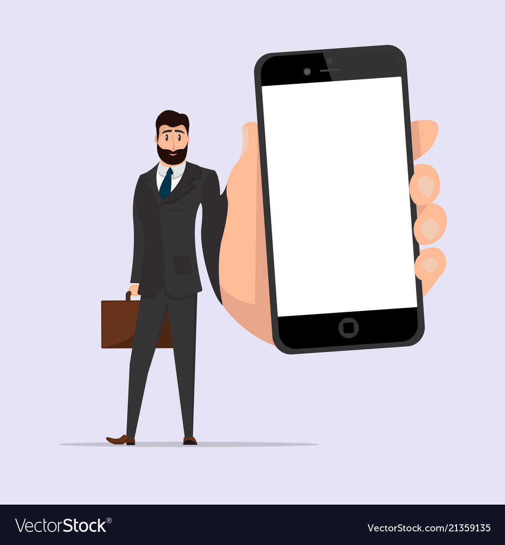 Businessman character with smartphone in hand