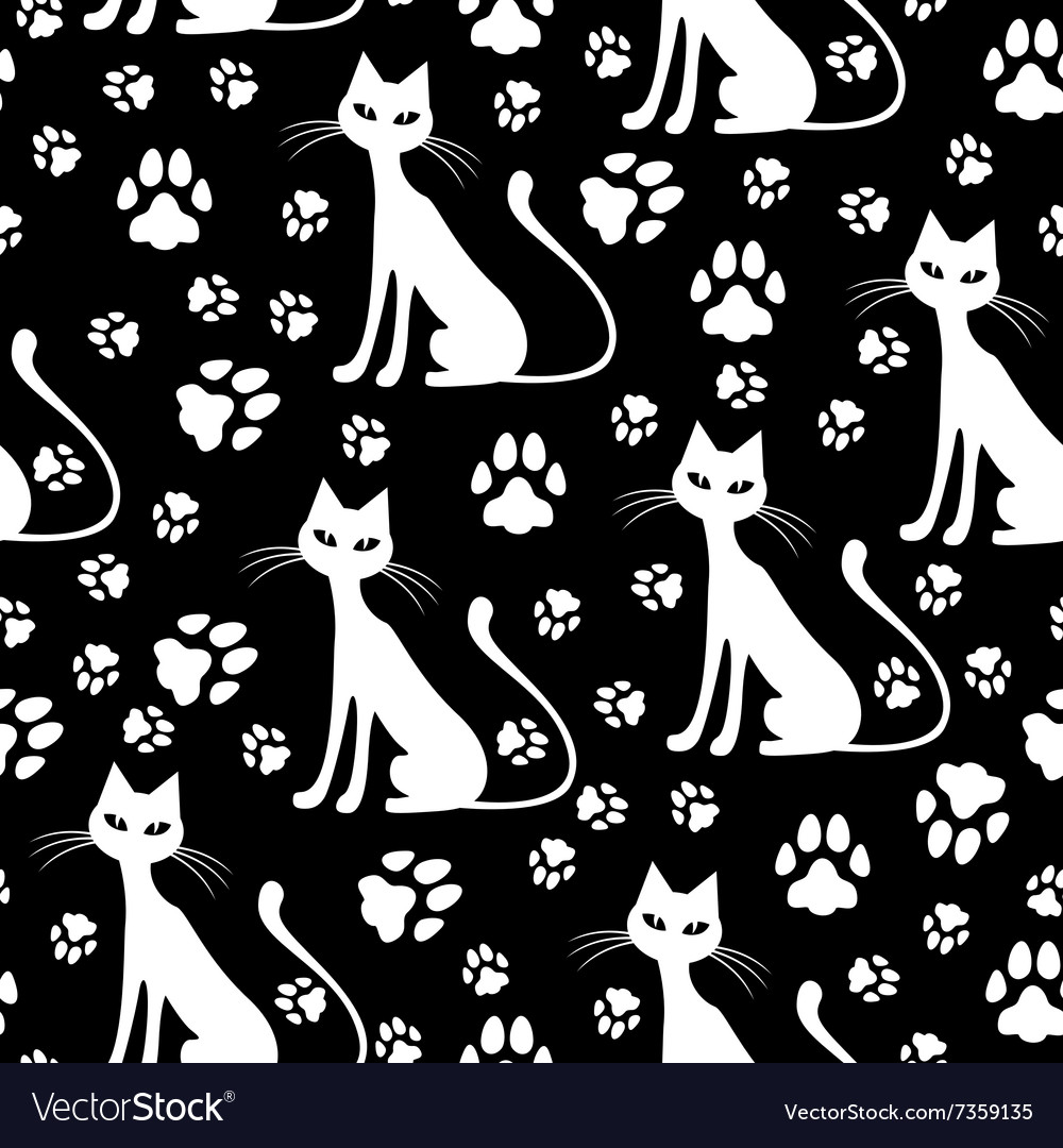 Cat pattern white vector image