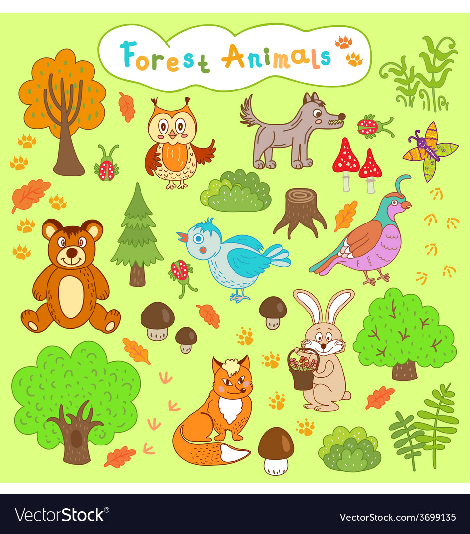 Children is drawings forest animals vector image