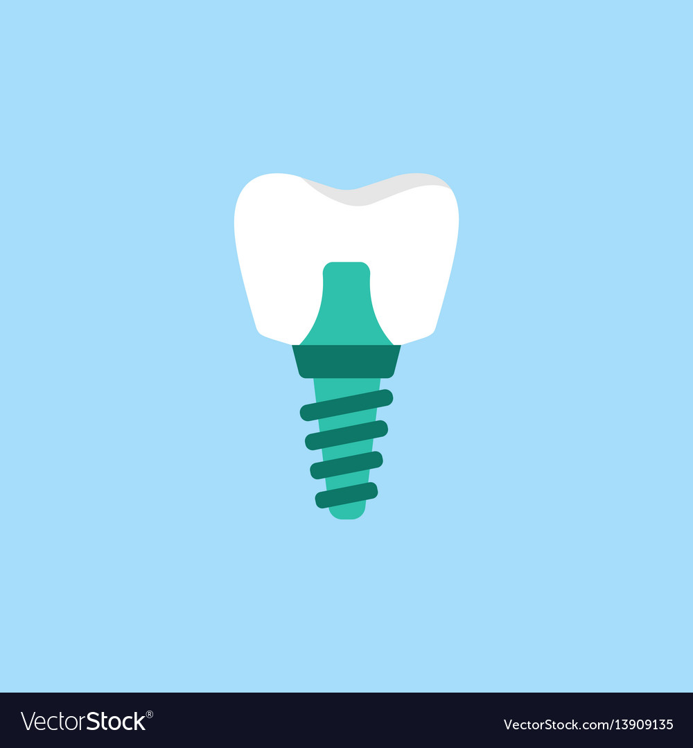 Dental implant flat icon vector image
