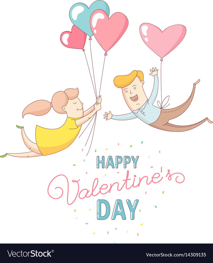 Happy valentines day couple characters flying
