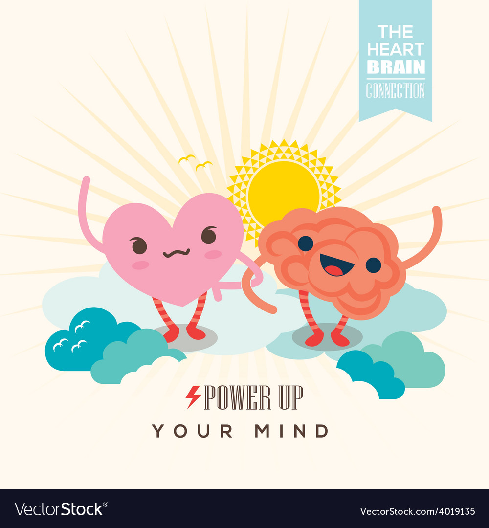 Heart and brain cartoon character holding hands