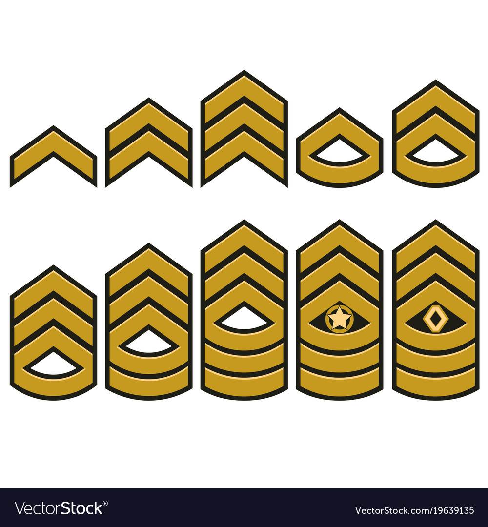 Military ranks set army patches