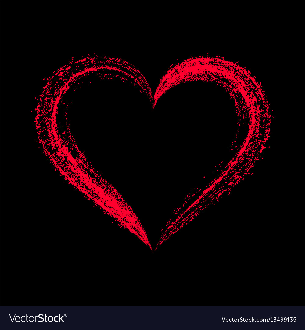 Red stylized heart on black