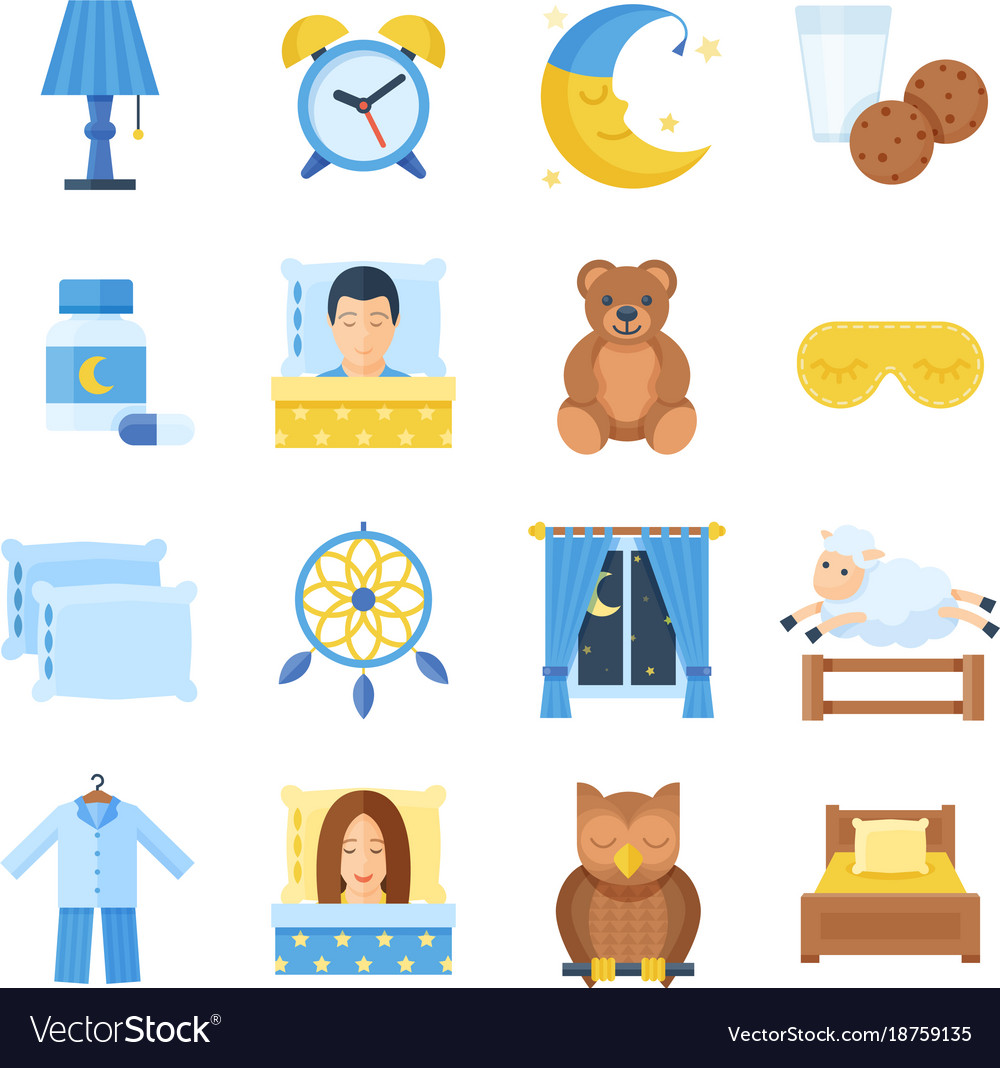 Sleep time set of icons in a flat style