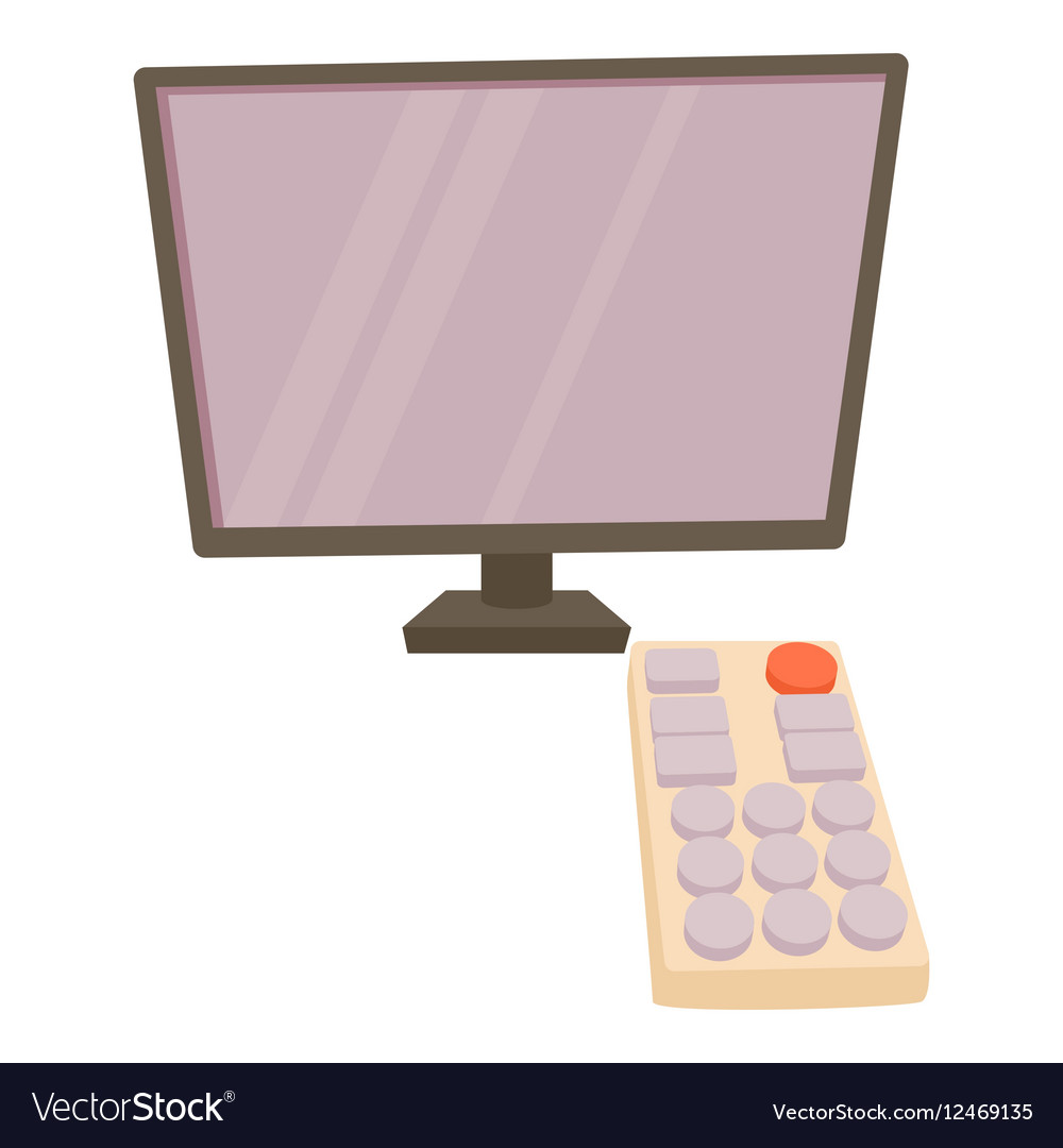 TV with remote icon cartoon style