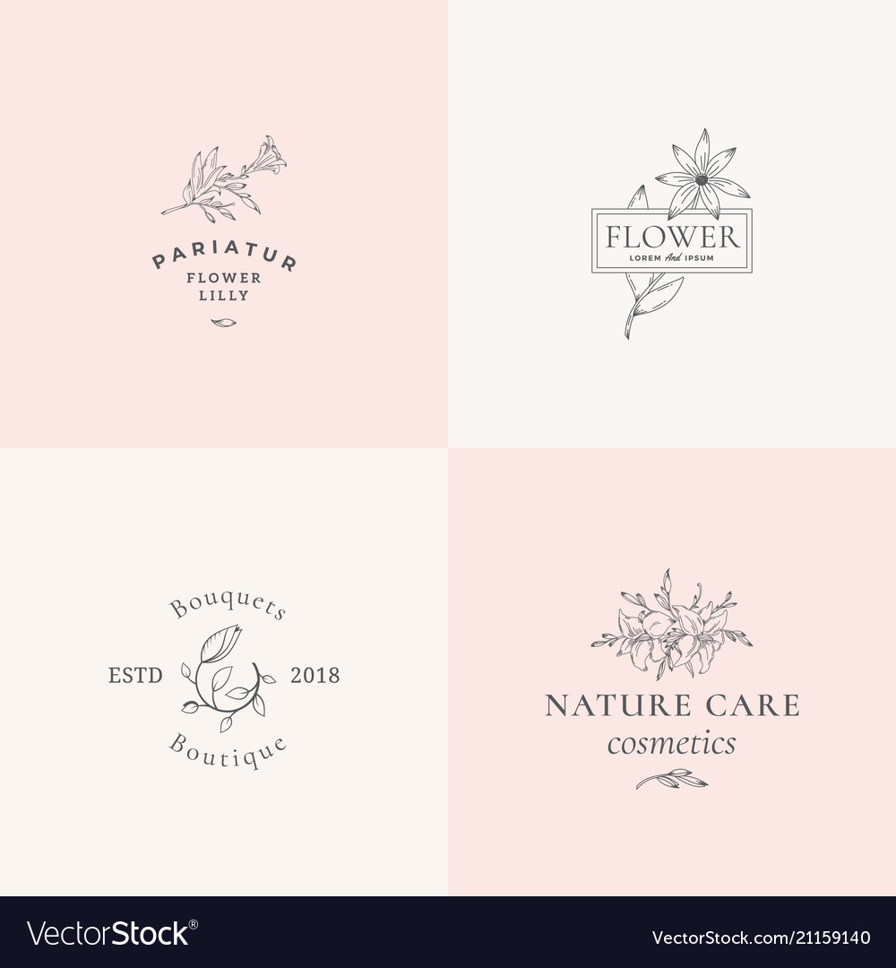 Abstract floral signs or logo templates set