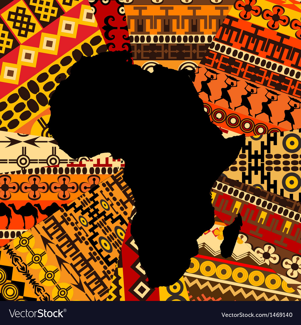 Africa map ethnic background Royalty Free Vector Image