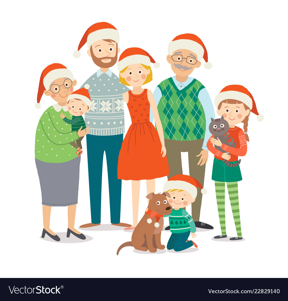 Christmas family portrait big happy family in