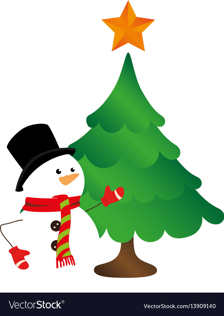 Christmas Trees Silhouette.Color Silhouette With Snowman And Christmas Tree
