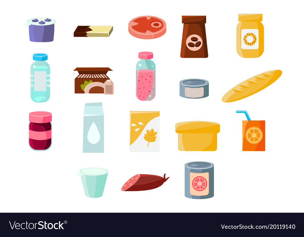 Common everyday grocery products sett food and