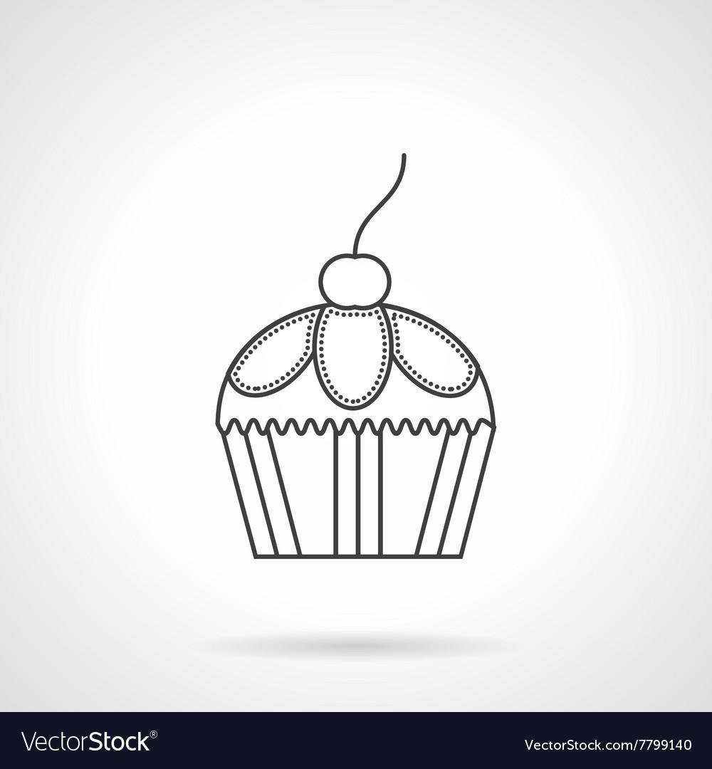 Cupcake dessert flat line design icon