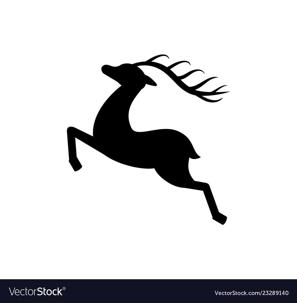 Deer siilhouette black monochrome icon isolated
