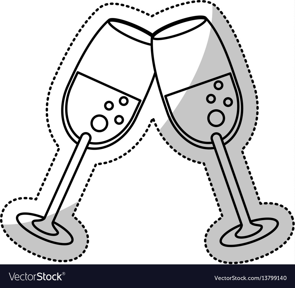 Glass cups champagne celebration outline vector image