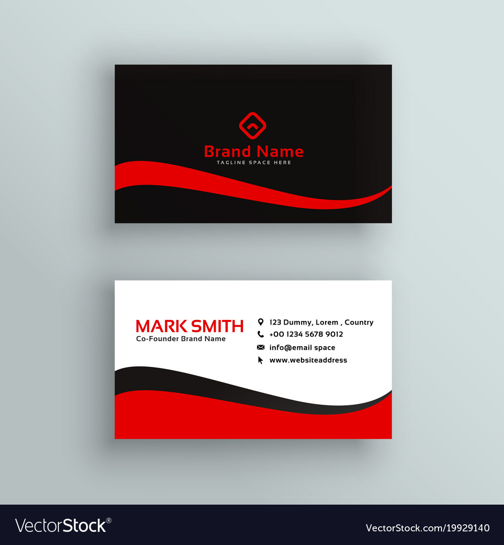Modern red and black business card design vector image reheart Images