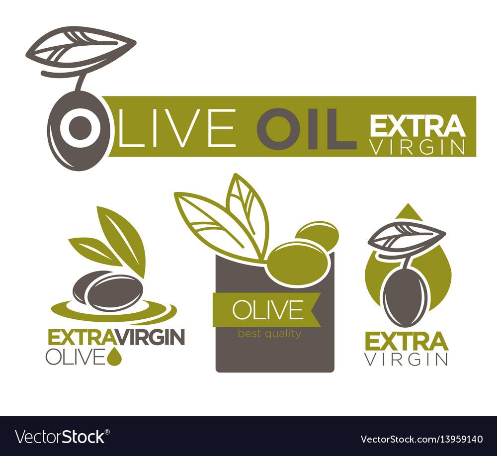 Olive oil extra virgin flat logotypes set on white