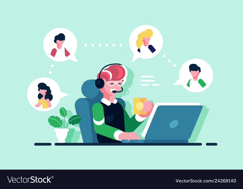 Online assistant working at office