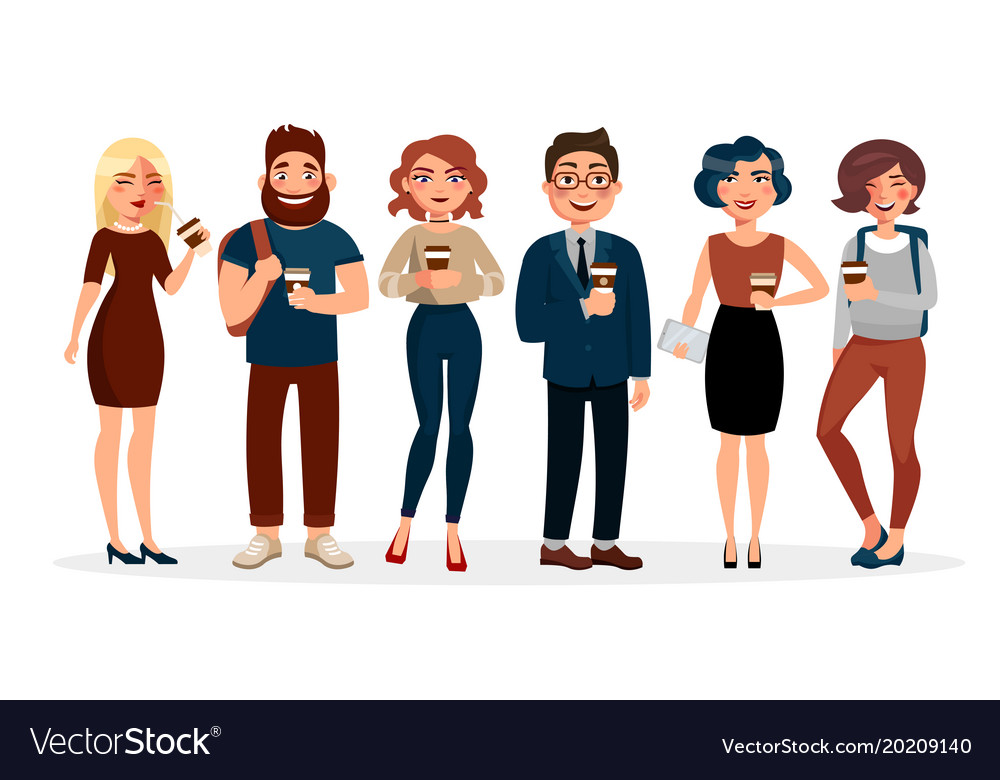People drinking coffee flat Royalty Free Vector Image
