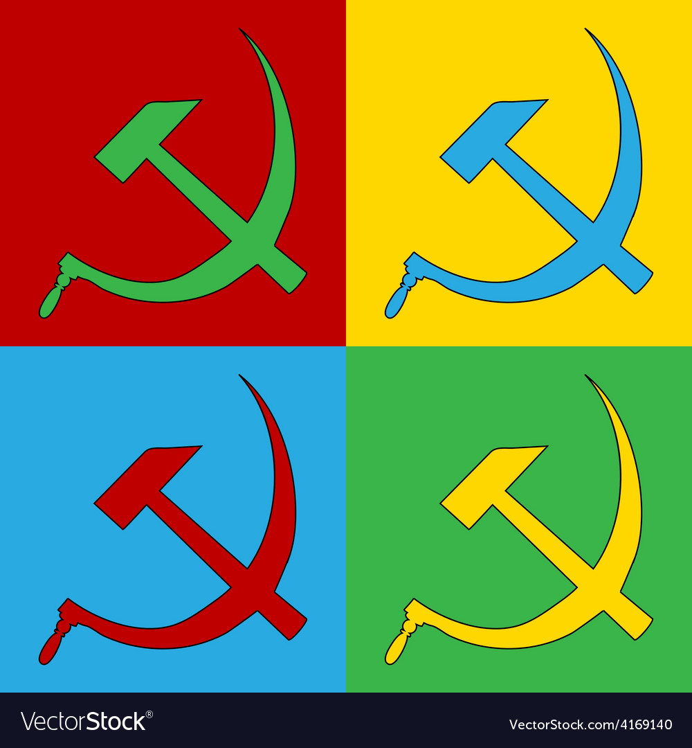 Pop art hammer and sickle icons