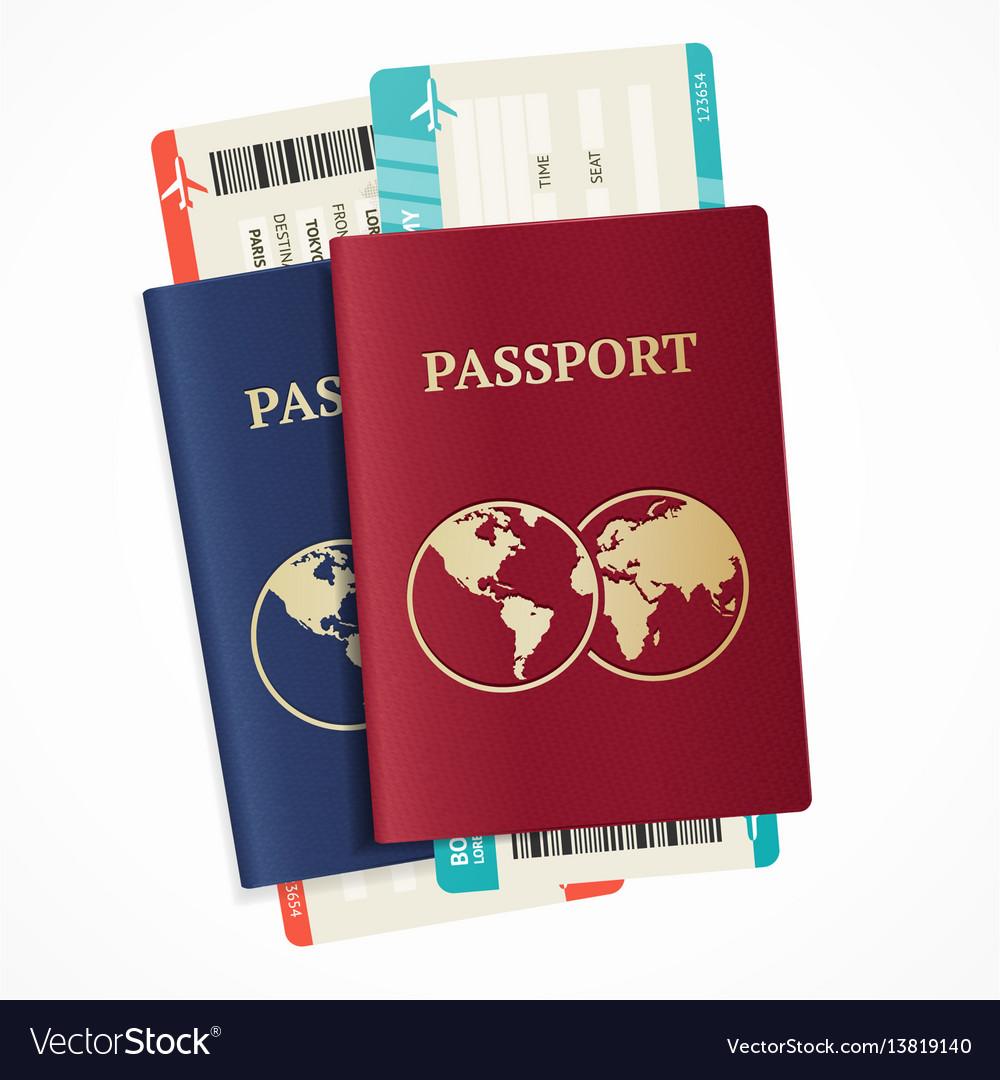 Realistic international passport set