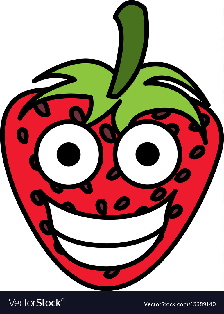 Red kawaii fruits strawberry happy icon