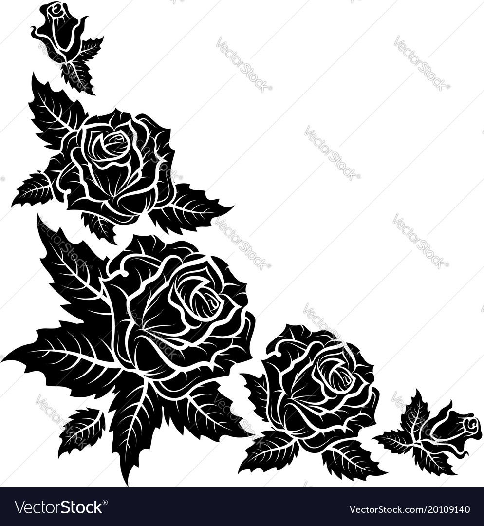 Roses silhouette pattern