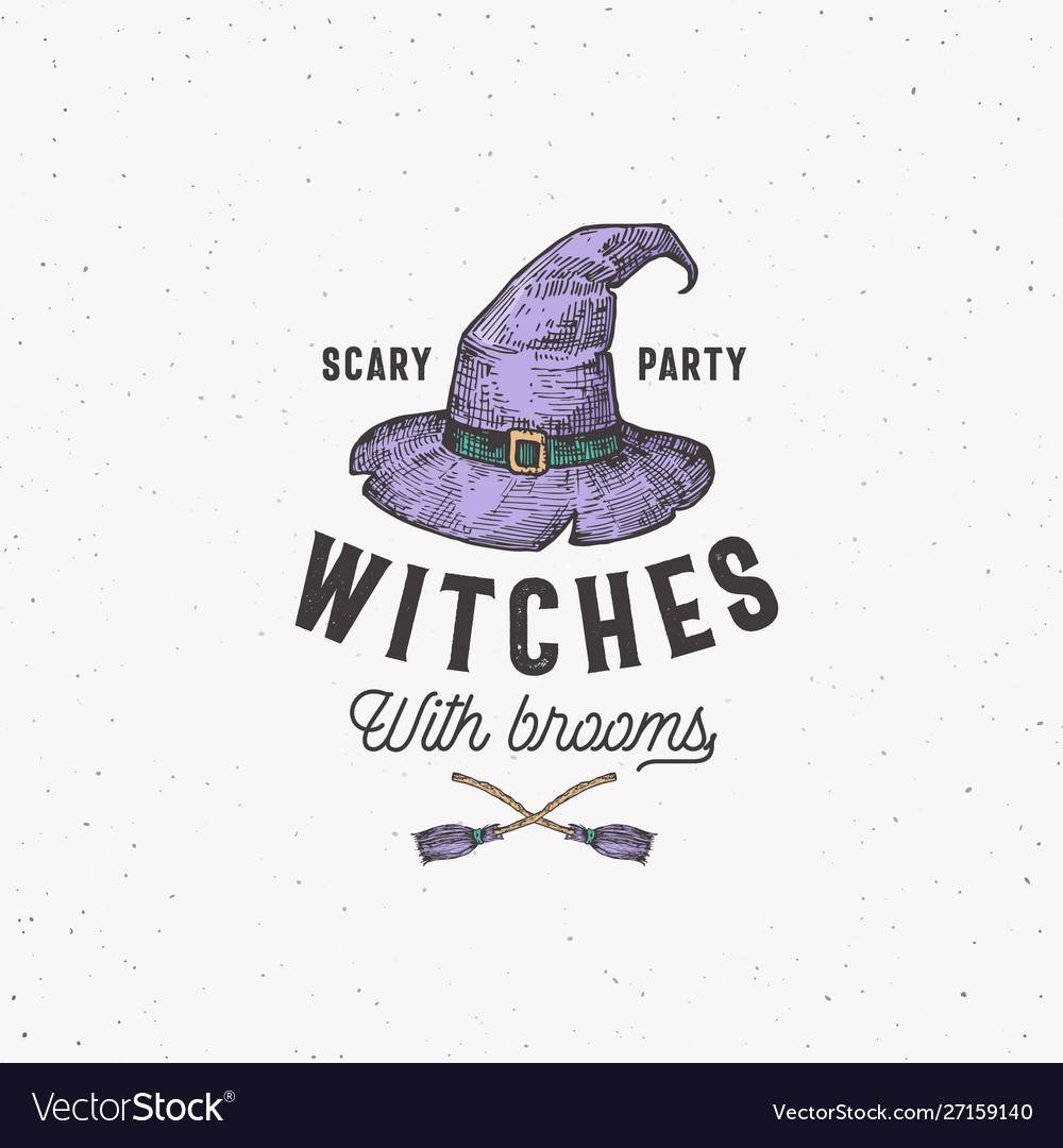 Scary party witches with brooms halloween logo or