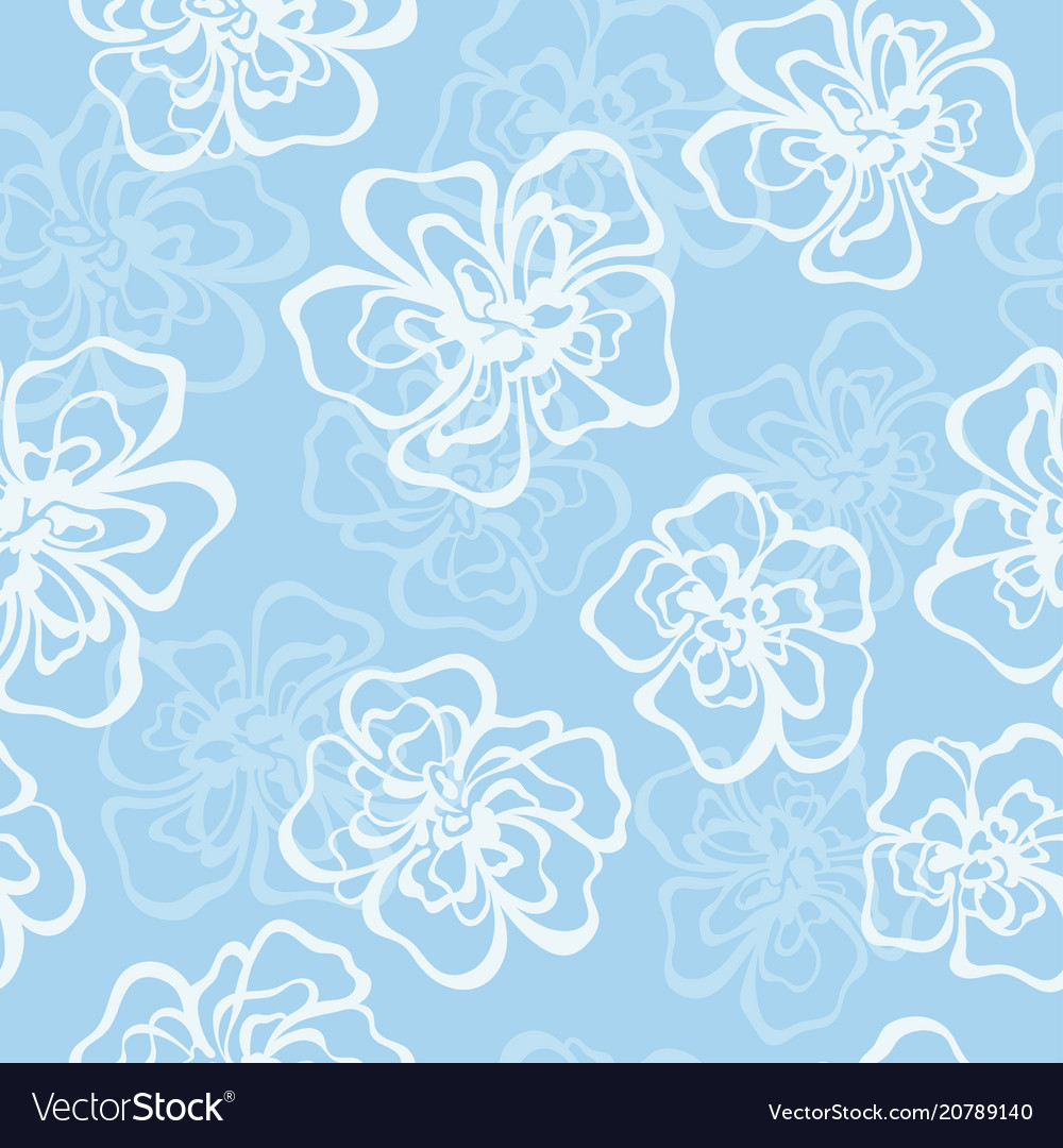 Silhouette decorative flower seamless pattern vector image