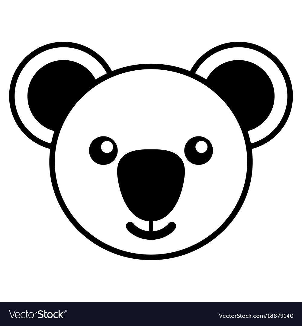 Simple line art of a cute koala
