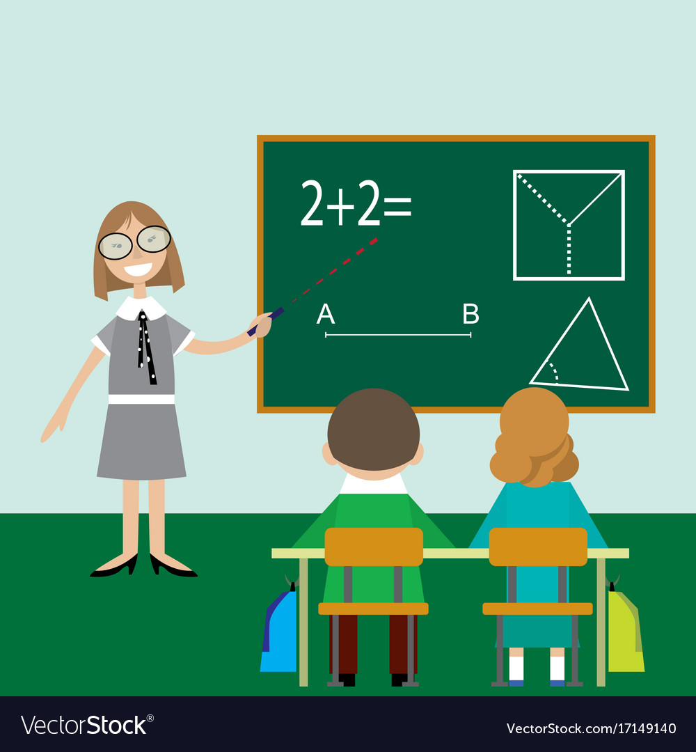 Teacher math children lesson class Royalty Free Vector Image