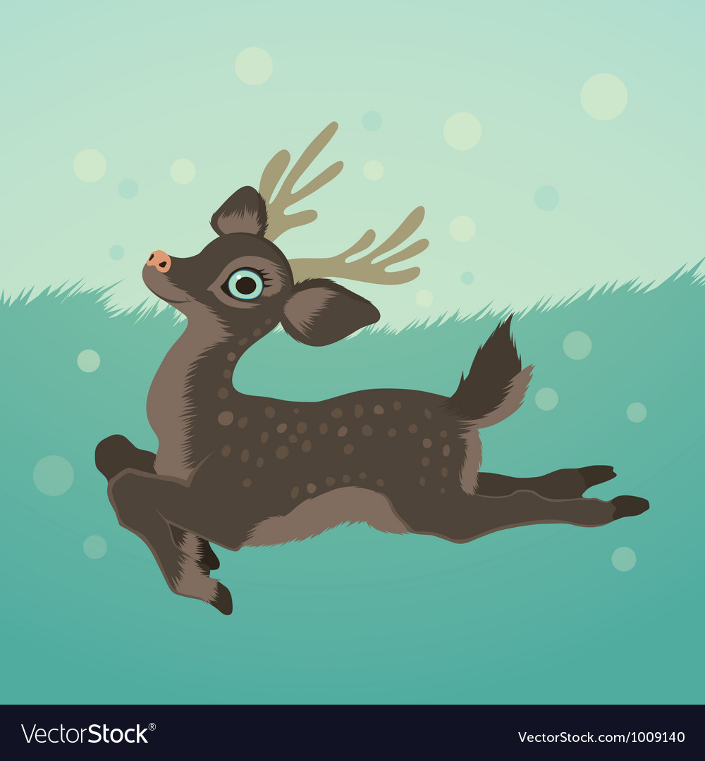 With deer in green field and snow
